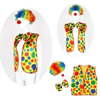 Halloween Cosplay Clown Dress Up Costume Red Nose+ Wig + Bow Tie + Vest Outfit