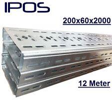 12 m IPOS Kabelrinne 200x60 Kabelkanal Kabeltrasse Verzinkt Metallkanal