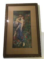 Rare MAURICE GREIFFENHAGEN 1891 Oil Painting AN IDYLL Vintage Artwork 1930 Print