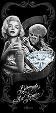 Marilyn Monroe Towel Diamonds Are Forever Fiber Reactive Beach black roses DGA