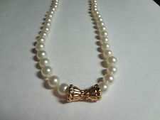 Finest Strand of Japanese Cultured Pearls 7mm 14kt gold clasp