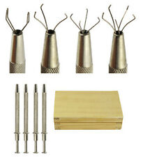 4pc Jewelers Diamond Gem Beads Pick Up Tool Holder 2 3 4 5 Prongs In Wood Box