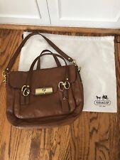 Coach Brown Leather Satchel Shoulder Bag Purse Handbag Gently Used