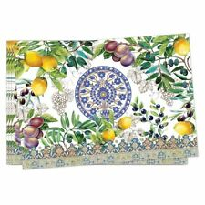 Set / 4 Michel Design Works Cotton Fabric Placemats Tuscan Grove - NEW