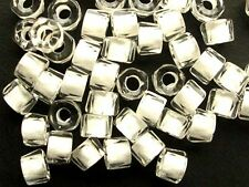 50 WHITE-lined CRYSTAL faceted roller large hole Czech glass beads - 5x4mm