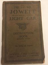 JOWETT LIGHT CAR 7-17HP PRE-WAR OWNERS INSTRUCTION BOOK HANDBOOK MANUAL 1931