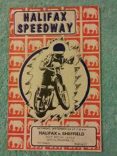 SPEEDWAY PROGRAMME HALIFAX v SHEFFIELD 3rd SEPTEMBER 1977 13th SEASON 27th MEET.