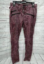 Rock & Republic Banshee Burgundy Leopard Print Womens Sz 6 Skinny Jeans Zippers