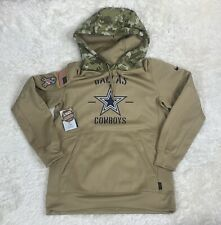 Nike NFL Dallas Cowboys Salute To Service Therma Hoodie Beige Mens Sz Large L