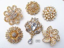 6 Extra Large Brooch Lot Gold Rhinestone Crystal Pearl Pin Wedding Bouquet DIY