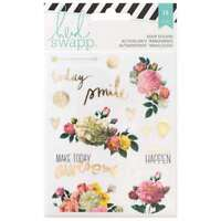 Heidi Swapp 15 Piece Memory Planner Floral Stickers with Gold Foil Finish, Clear