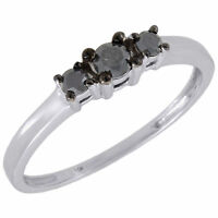 Black Diamond 3 Stone Engagement Ring 10K White Gold 0.27 Ct Round Cut