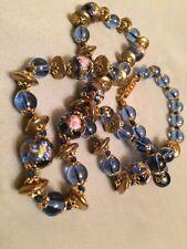 Amazing! Antique Venetian Murano Wedding Cake Blue Glass Beads Necklace