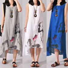 AU_ HK- Women Summer Loose Lotus Shirt Skirt Linen Cotton Casual Dress Plus Size