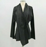 Blanque Wrap Blouse Shirt Top Womens 1 M Medium Lagenlook Black White Pinstripe