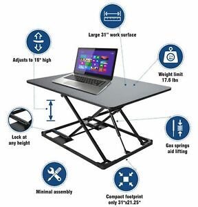 Conquer Compact Standing Desk Height Adjustable Monitor Riser Gas Spring Tableto