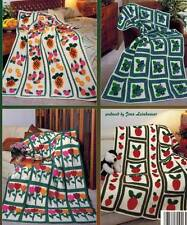 5 Crochet PATTERNS Applique for Afghans Blanket Throw Wraps Home Decor Gifts NEW