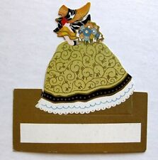 Vintage Bridge Tally Place Card Woman in Big Dress