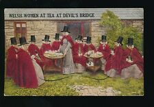 Wales Cardiganshire DEVIL'S BRIDGE Welsh Women Tea Pocket Novelty c1930/50s? PPC