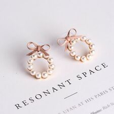 Women Cute Pearl Bow Knot Round Stud Earrings Fashion Jewelry Korean Style Gift