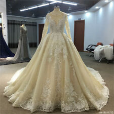 Sparkly Cathedral Train Appliques Beaded Wedding Dress Champagne Bridal Gown New