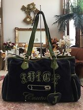 JUICY COUTURE  X-Large Velvet  Weekender Diaper Green Leather Trim Tote Bag