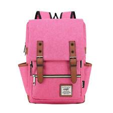 Girl Women Men Canvas Leather Travel Backpack Satchel Rucksack Laptop School Bag