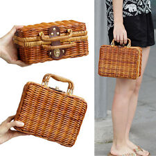 Fashion Women's Bamboo Handbag Handmade Lady Tote Bags Retro Shoulder Hand Bag