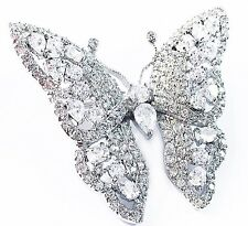 USA BROOCH PIN Wedding Bridal CZ Cubic Zirconia Romantic Butterfly 3D