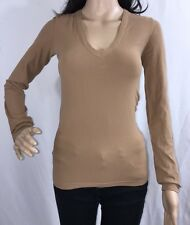 Banana Republic Base Layer Shirt Small Brown V-Neck Italian Made Compression Top