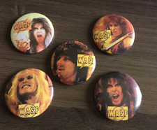 More details for wasp set of 5 button badges american heavy metal band - wild child 25mm pin