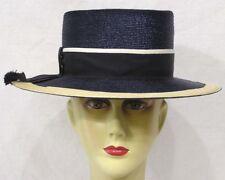 Vintage Ladies Hat Black White Straw Topper Black, White Grosgrain Ribbon