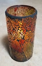 "Hollowick Crackle Glass Cylinder Battery Operated Candle 6"" Tall 3"" Wide 4H 8H"