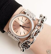 Michael Kors reloj fantastico mk3218 darci acero inoxidable cristal plata/oro rosa! nuevo!