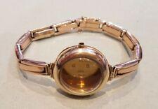 Vintage 9ct Gold Ladies Wrist Watch Case & Strap. 15.7 grams.