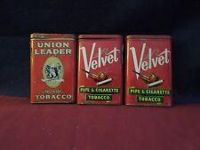 Vintage Tobacco Tins-Set of 3. 1 Union Leader and 2 Velvet Tins