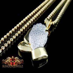 REAL DIAMOND YELLOW GOLD G/P OVER STERLING MINI PRAYING HAND CHARM PENDANT CHAIN