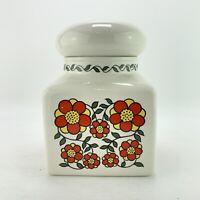 Vintage Retro 1970's Taunton Vale Red Daisies Ceramic Storage Jar Kitchenalia