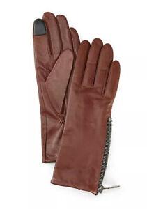 Frye Ladies Grain Double Zip Leather Gloves W/touch Technology Cognac Size XL