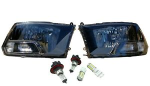 Black Headlights Lamps Head Light LH RH Pair for 09-18 Dodge Ram 1500 2500 3500