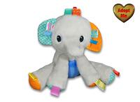 Bright Starts Kids II Taggies Grey Elephant Rattle Stuffed Plush Animal Baby Toy