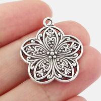 10x Tibetan Silver Filigree Flower Charms Pendants DIY Jewelry Making Findings