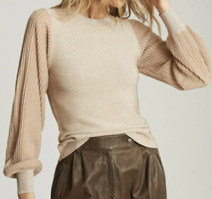 """Balloon Sleeve Metallic Gold Top """"Stella"""" BNWOT Size M by Reiss of Nordstrom"""