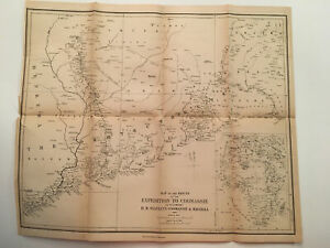 K121) Map of the British Expedition to Coomassie Africa 1874 Engraving