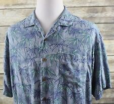 Tommy Bahama Blue Purple Hawaiian Silk Camp Shirt MENS LARGE Floral
