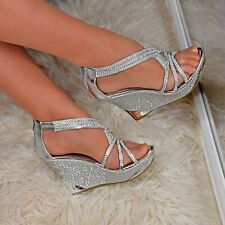 Women Platform High Wedge Heel Diamante Strappy Party Evening Shoes Sandals Size