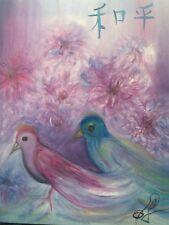 Modern Chinese Peace Asian Art Purple Chrysanthemum Birds Oil by Paula Gabay