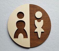 WC Schild Toilettenschild Toilette Türschild Damen Herren Wood Holz Piktogramm