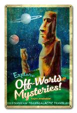 Vintage Styled Metal Sign Tiki Moai Easter Island Space Pulp Art Tiki Bar Decor