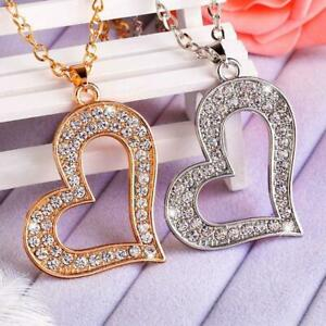 Womens Large Heart Shaped Rhinestone Love Necklace with Matching Chain UK